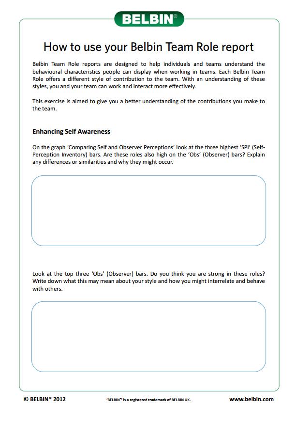 Session Ideas & Handouts | Belbin