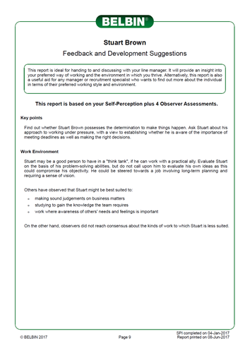 Belbin Individual Report Feedback and Development Suggestions